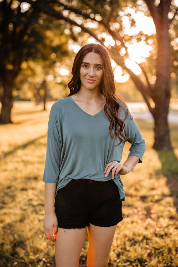 'Casual Day' Top - Blue Gray