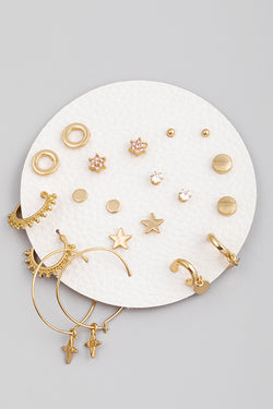 Star Disk Earring Set