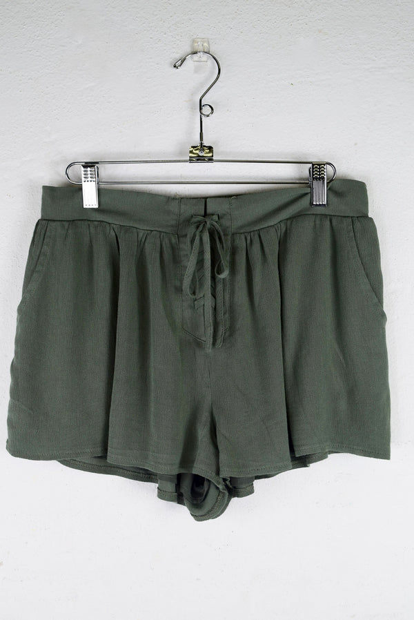 Lace Up Shorts - Olive