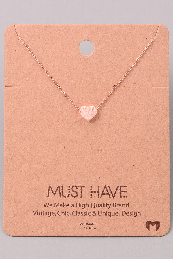 Dainty Heart Necklace - Rose