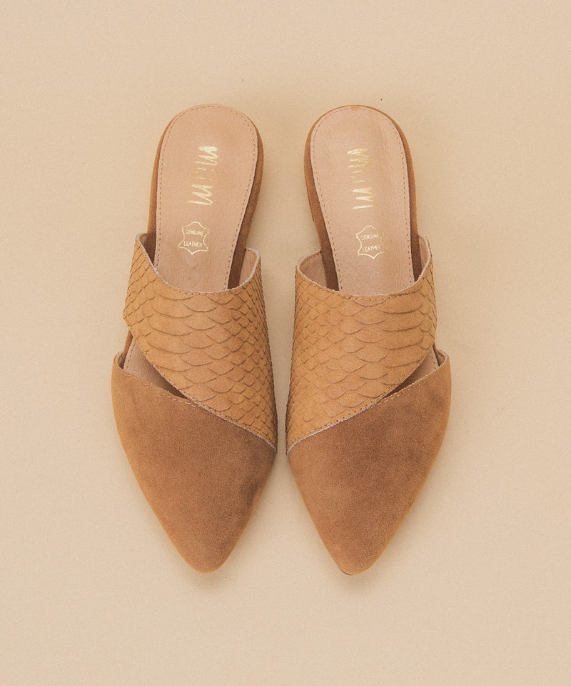 Two Tone Mules - Camel