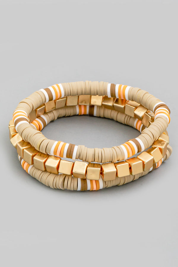 Disk Stretch Bracelet Set - Beige