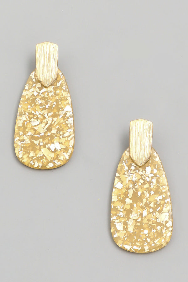 Acetate Drop Earrings - Gold