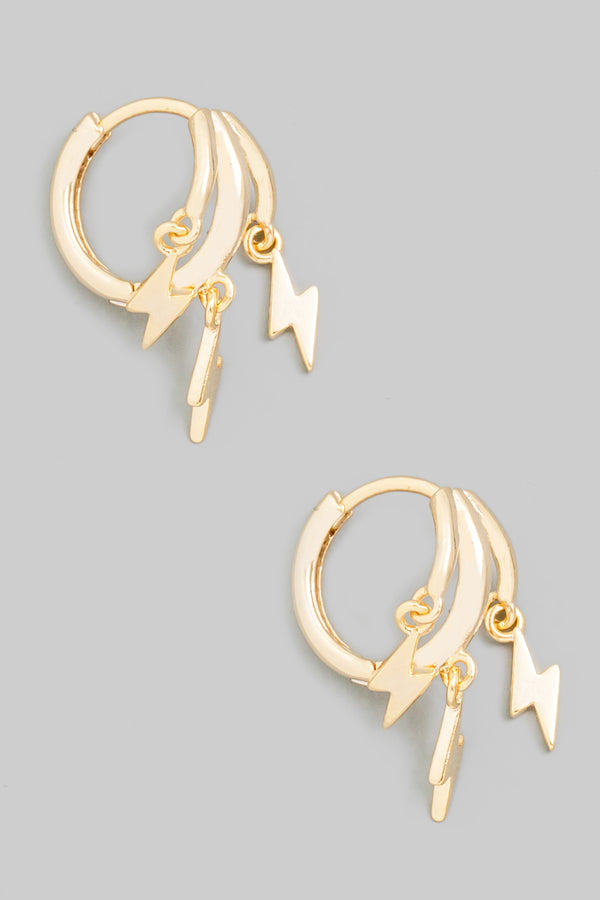 Lightning Huggie Hoop Earrings