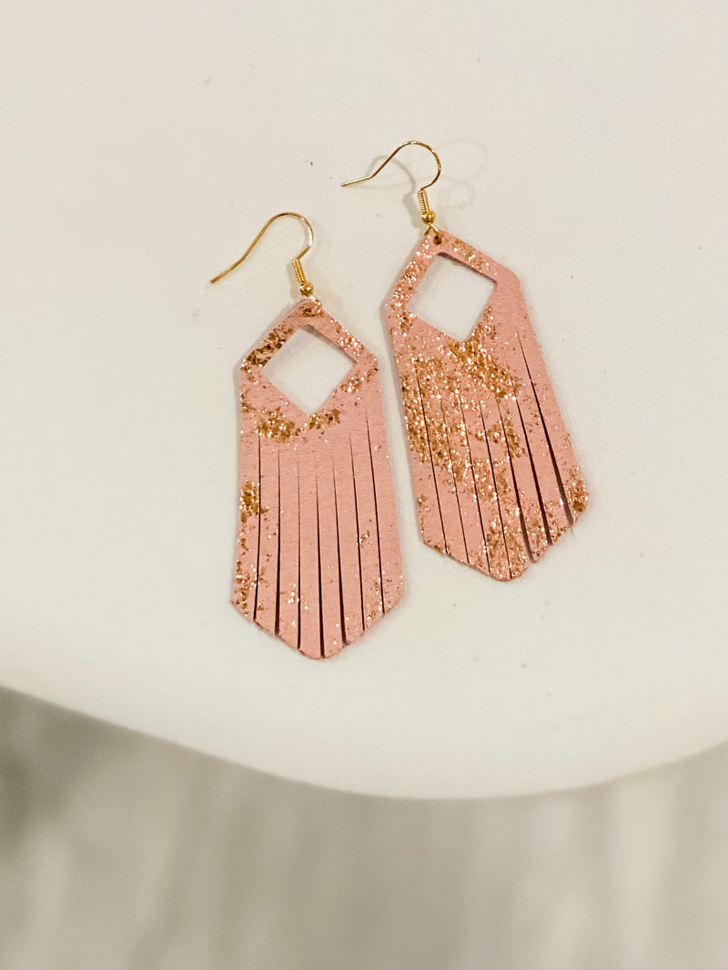 Fringe Leather Earrings - Rose Gold Splash