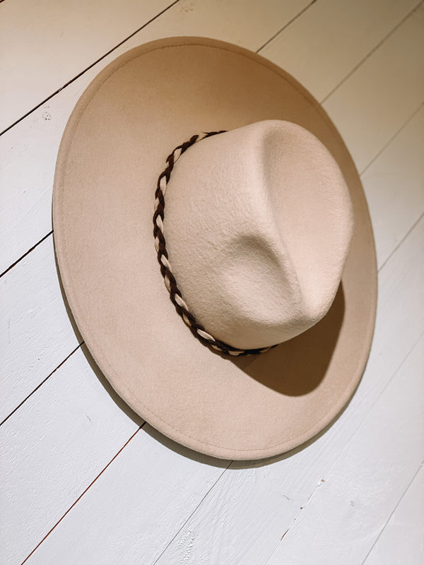 Braided Wool Panama Hat - Beige