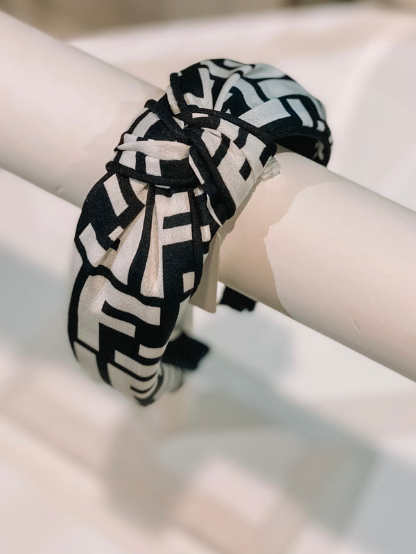 Retro Patterned Headband - Black