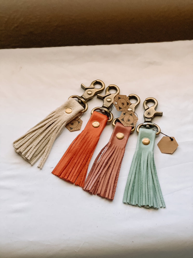 Leather Tassel Keychain - Persimmon