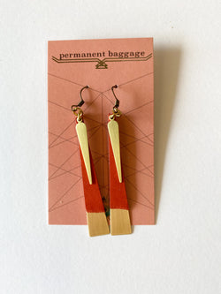 Leather Slim Brass Earrings - Persimmon
