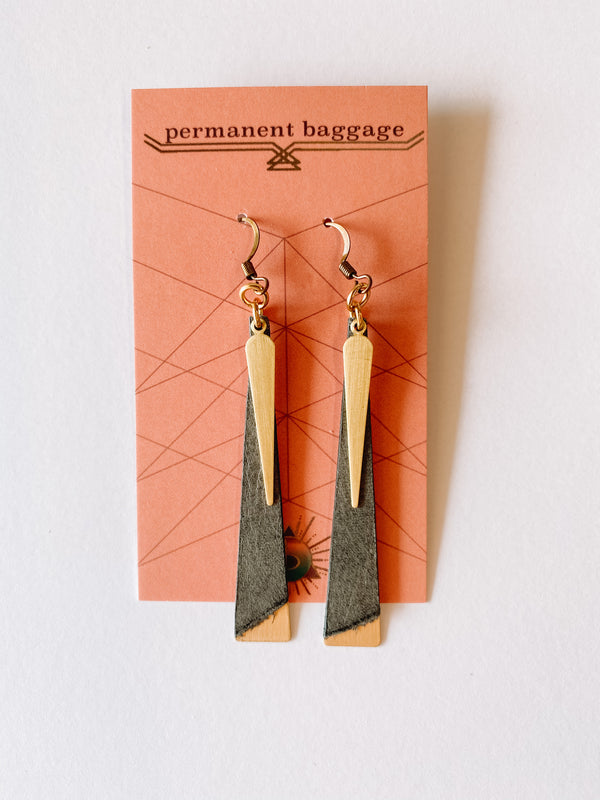 Leather Slim Brass Earrings - Gray