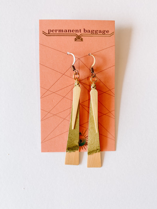 Leather Slim Brass Earrings - Cactus
