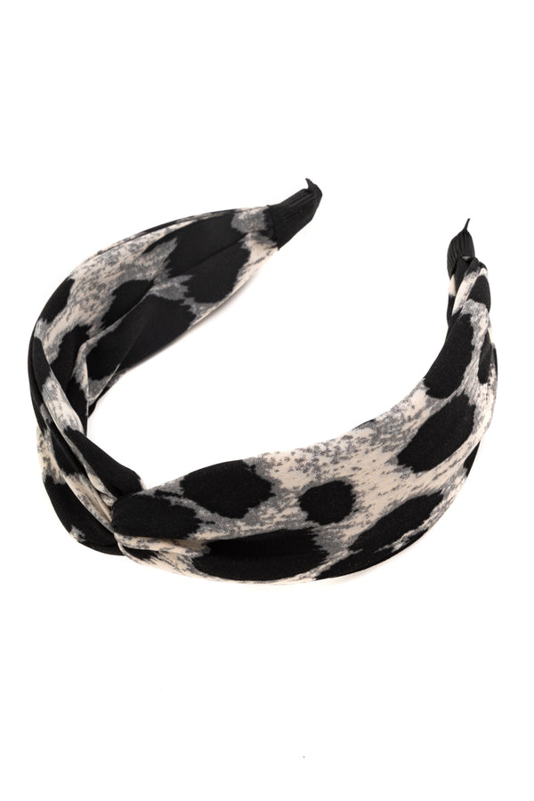 Knotted Headband - Gray Leopard
