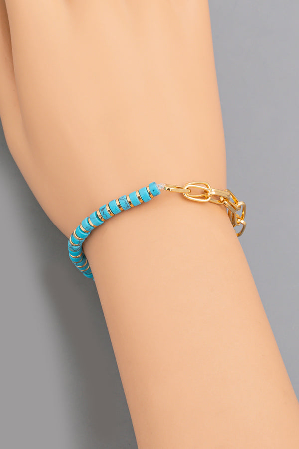 Disk + Chain Bracelet - Turquoise