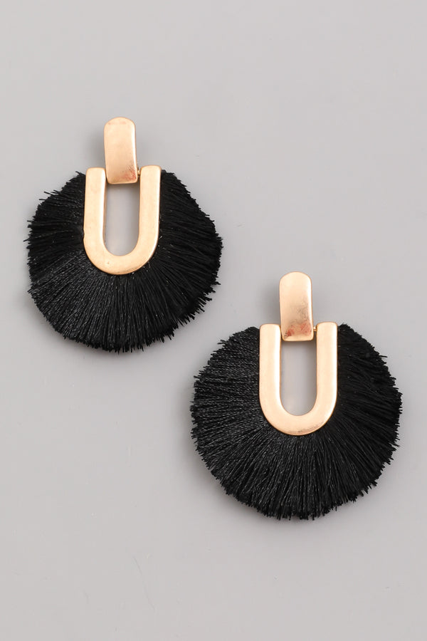 Circle Tassel Fan Earrings - Black