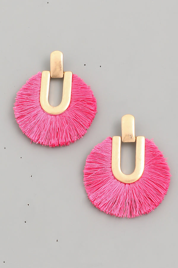 Circle Tassel Fan Earrings - Pink