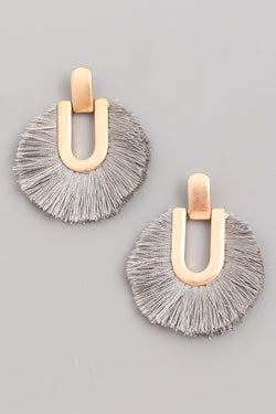 Circle Tassel Fan Earrings - Gray