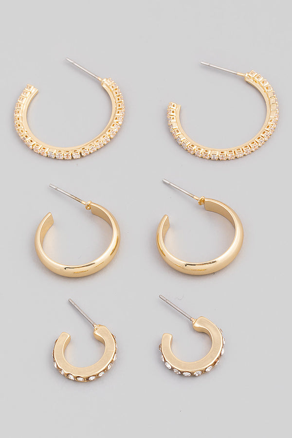 Studded Hoop Earring Set