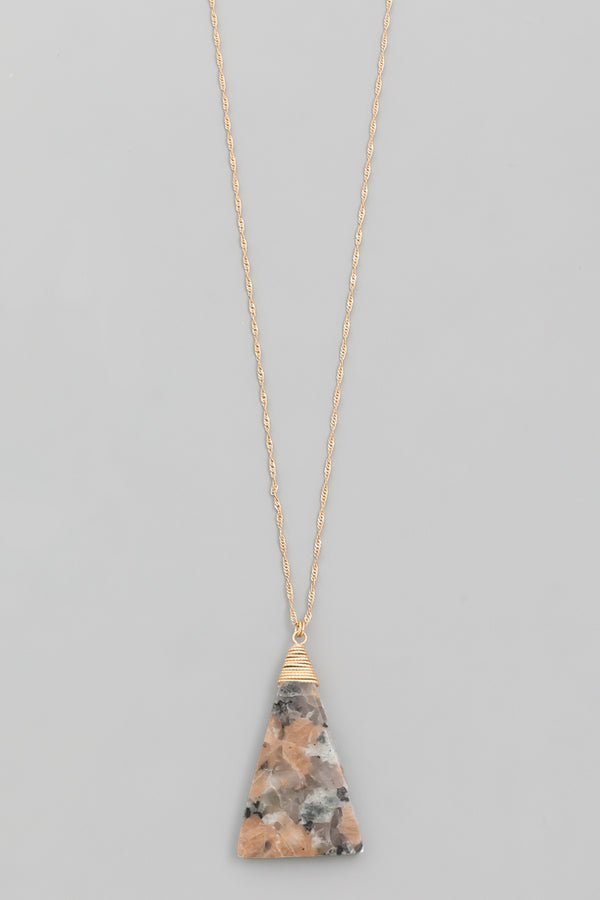 Triangle Pendant Necklace - Mauve