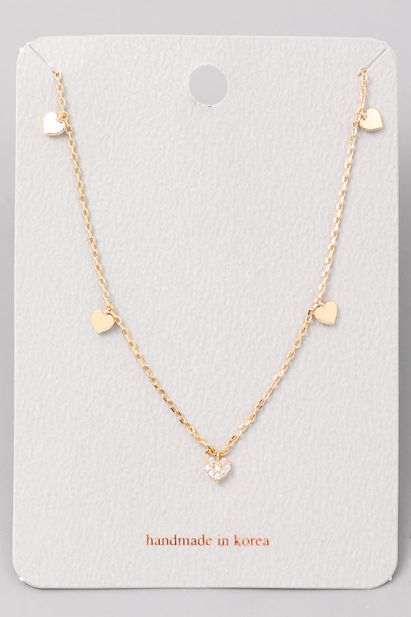 Heart Charm Necklace - Gold