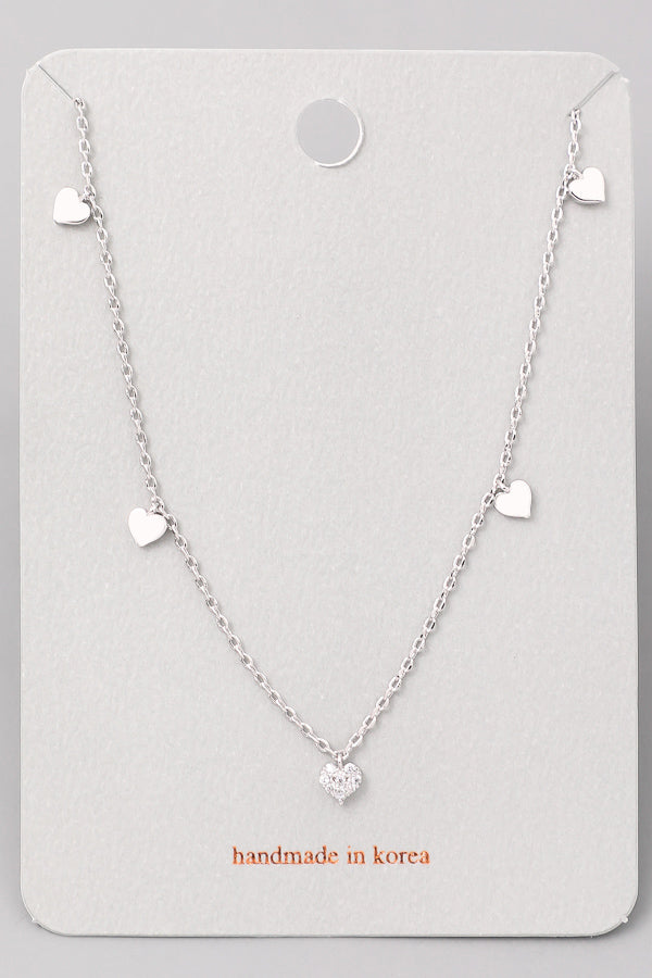Heart Charm Necklace - Silver