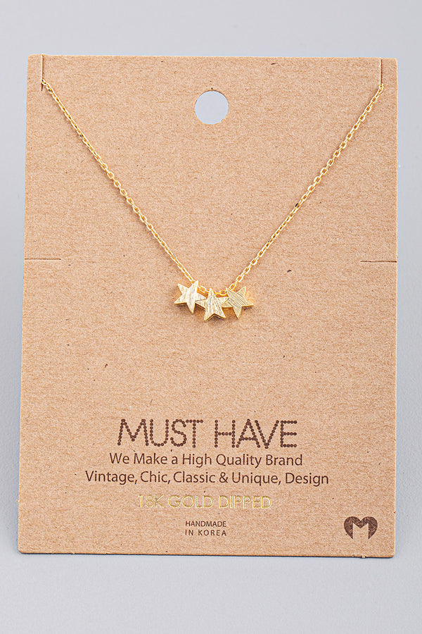 Triple Star Charm Necklace - Gold