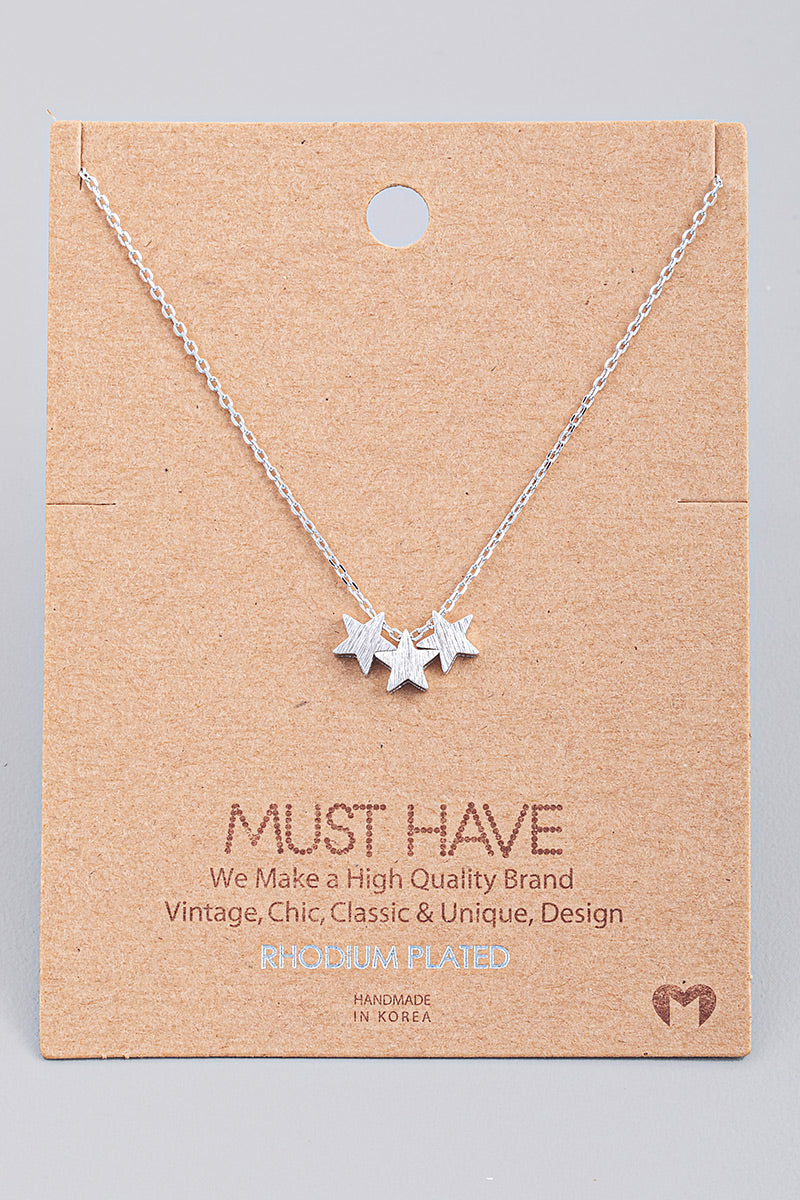 Triple Star Charm Necklace - Silver