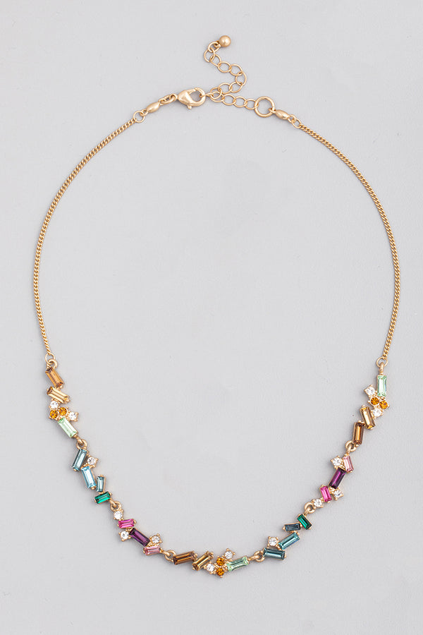 Baguette Chain Necklace - Multi