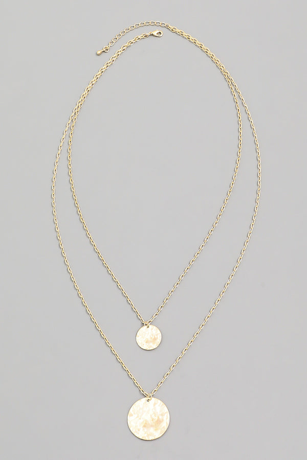 Layered Disk Necklace - Gold