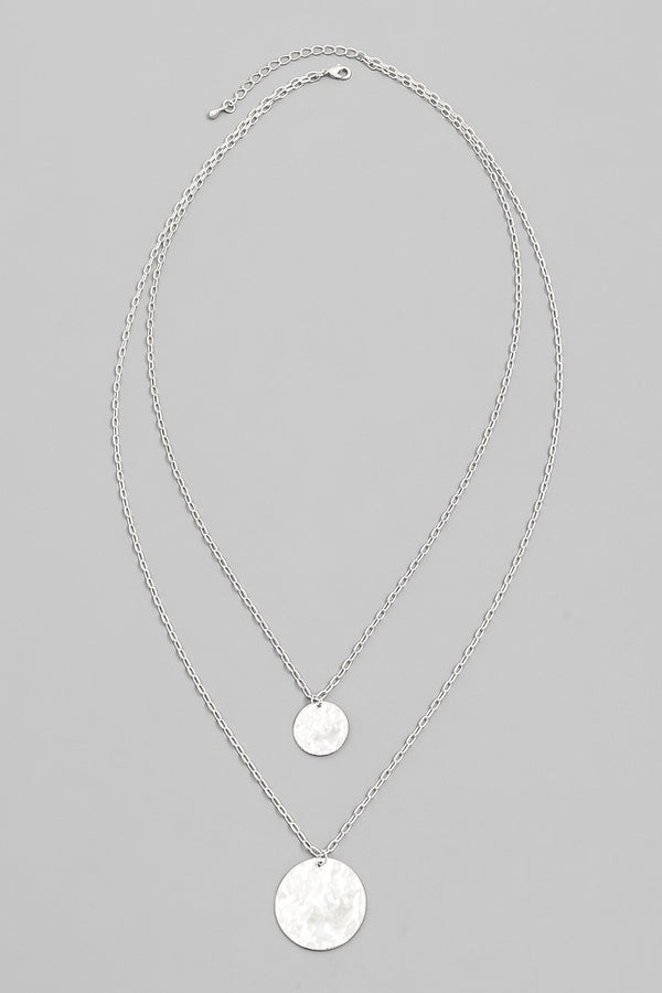 Layered Disk Necklace - SIlver