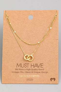Layered Chain Link Necklace - Gold