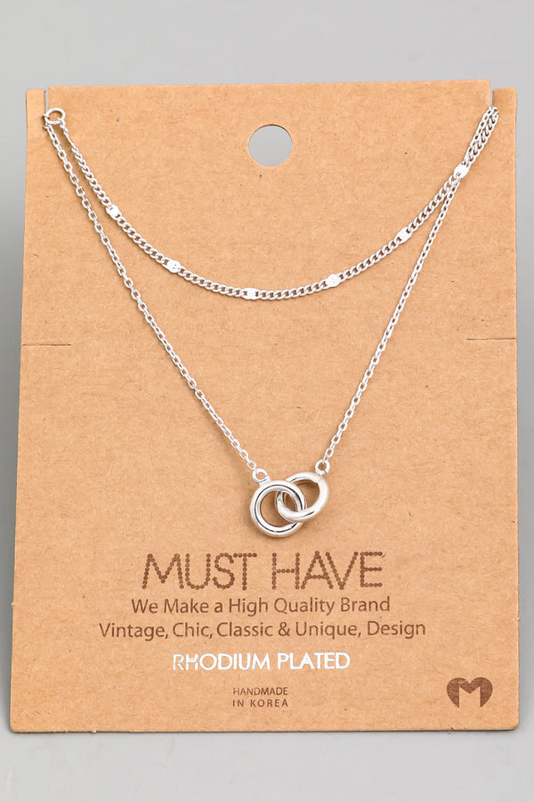 Layered Chain Link Necklace - Silver