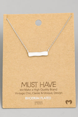 Hammered Bar Necklace - Silver