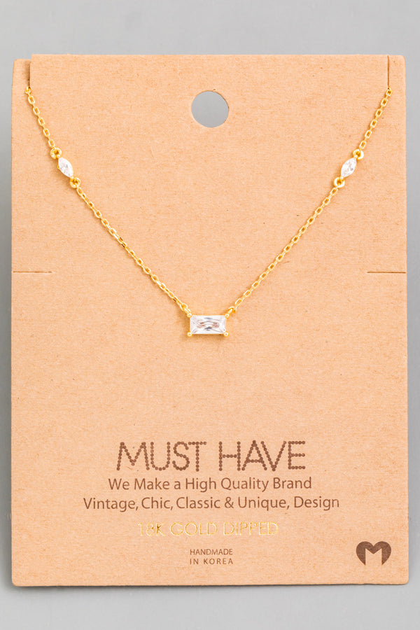 Dainty Crystal Pendant Necklace - Gold