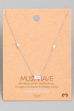Dainty Crystal Pendant Necklace - Silver