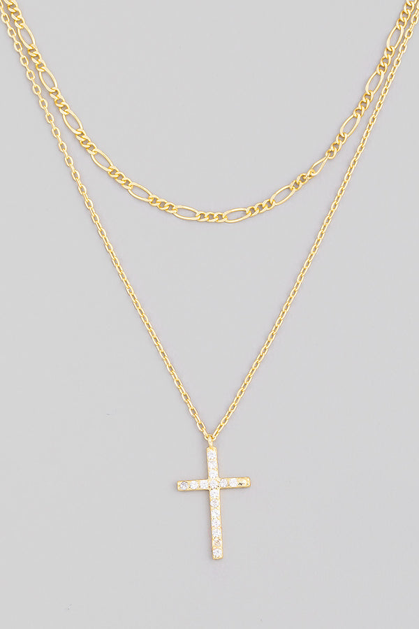 Sterling Silver Layered Cross Necklace