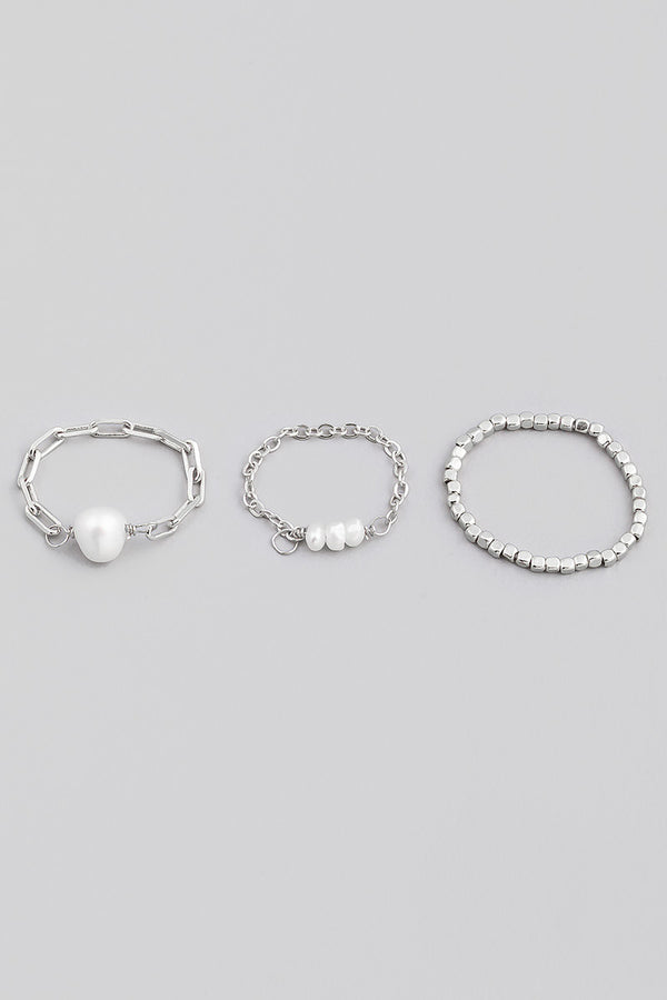 Pearl Ring Set - Silver