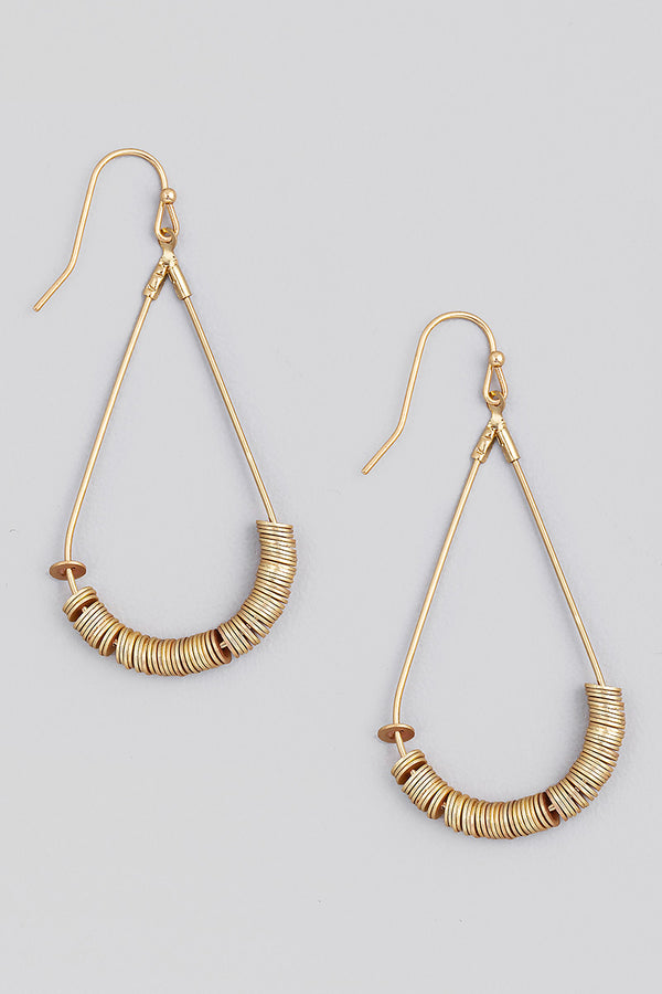 Disk Beaded Earrings - Gold