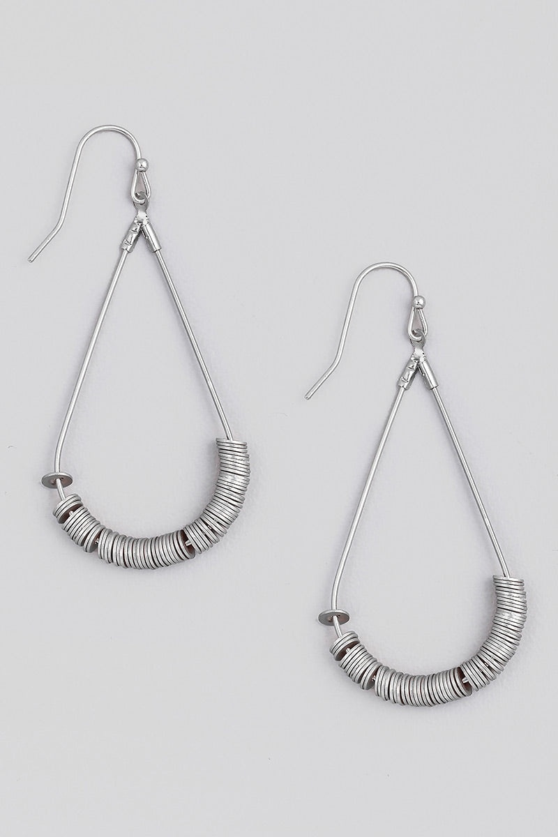Disk Beaded Earrings - Silver