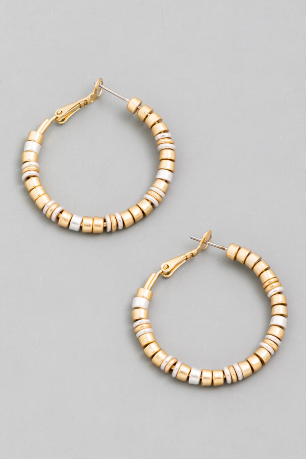 Beaded Latch Hoop Earrings - Gold