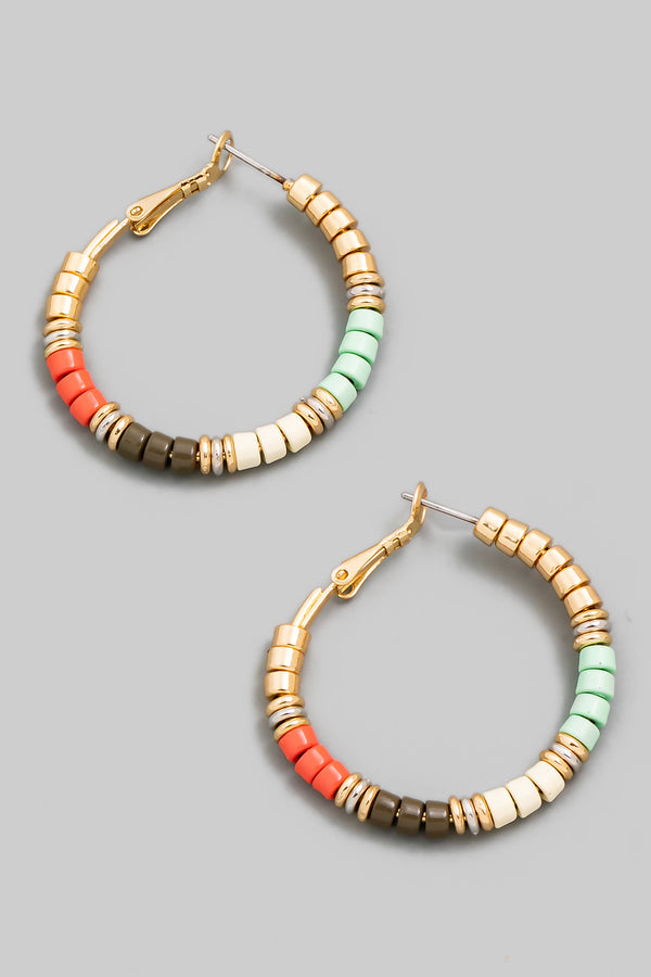 Beaded Latch Hoop Earrings - Mint