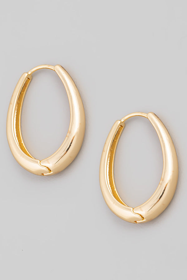 Oval Hoop Earrings - Gold