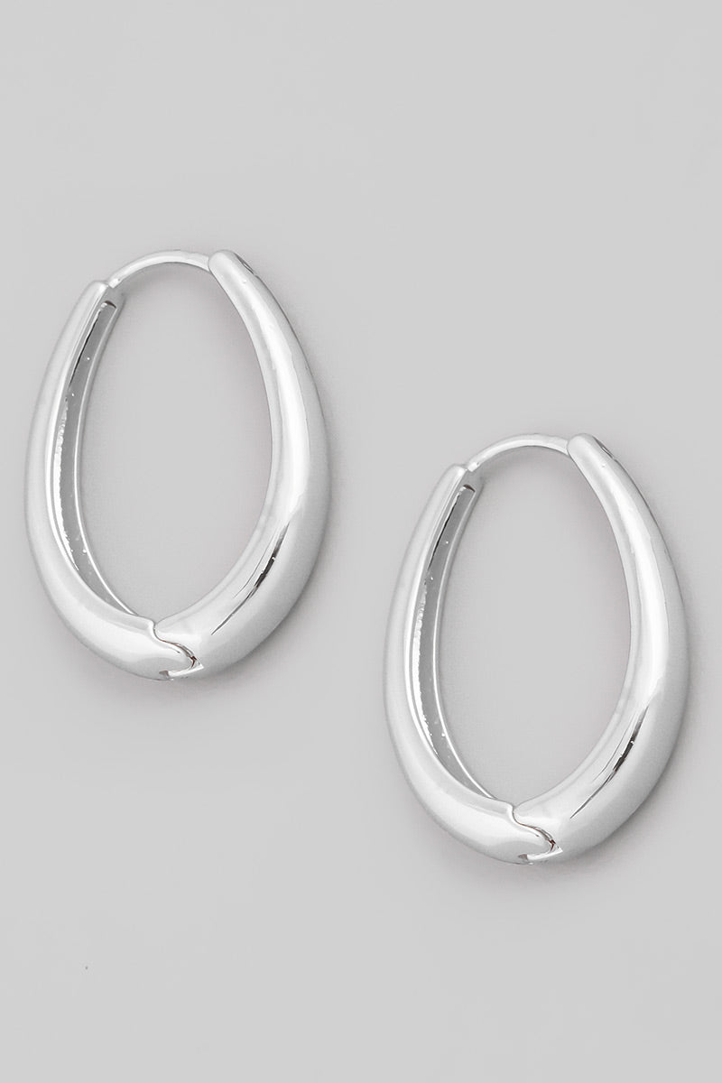 Oval Hoop Earrings - Silver