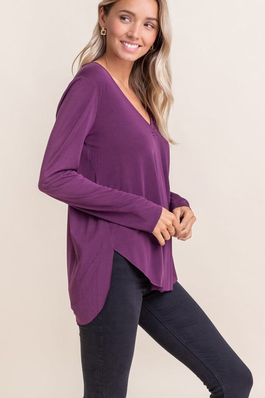 Lush V Neck Longsleeve Tee - Purple