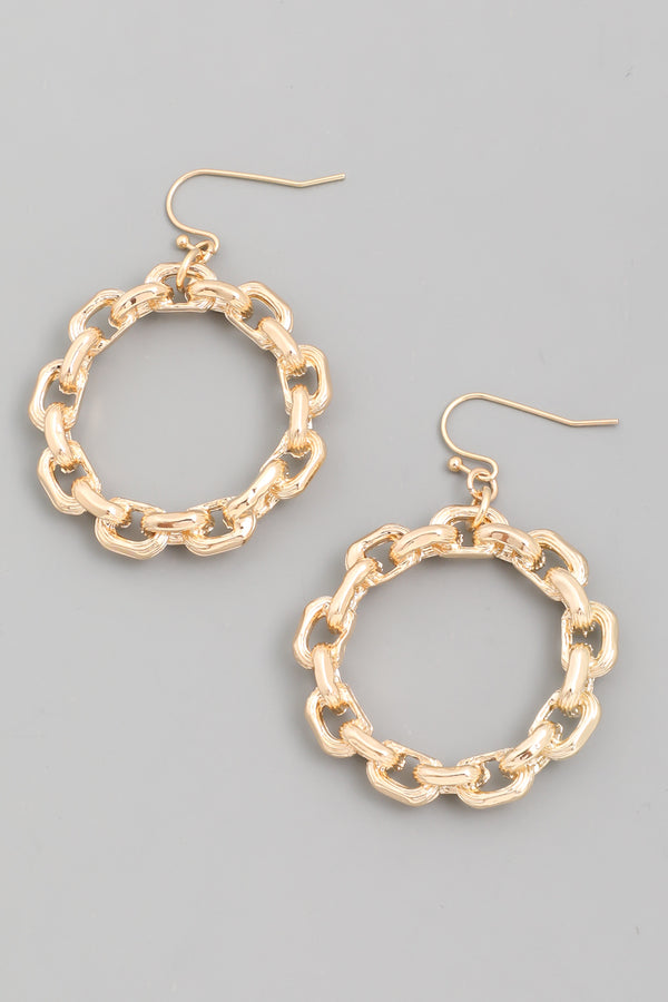 Cable Hoop Drop Earrings