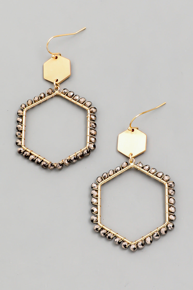 Beaded Hexagon Earrings