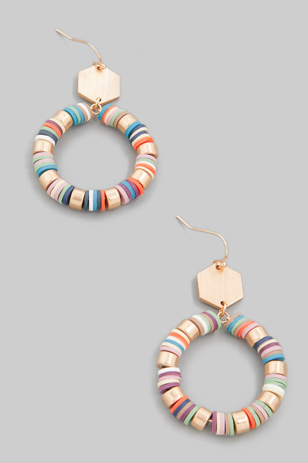 Multi Color Disk Earrings