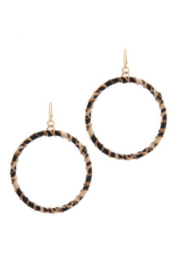 Leopard Twisted Circle Earrings