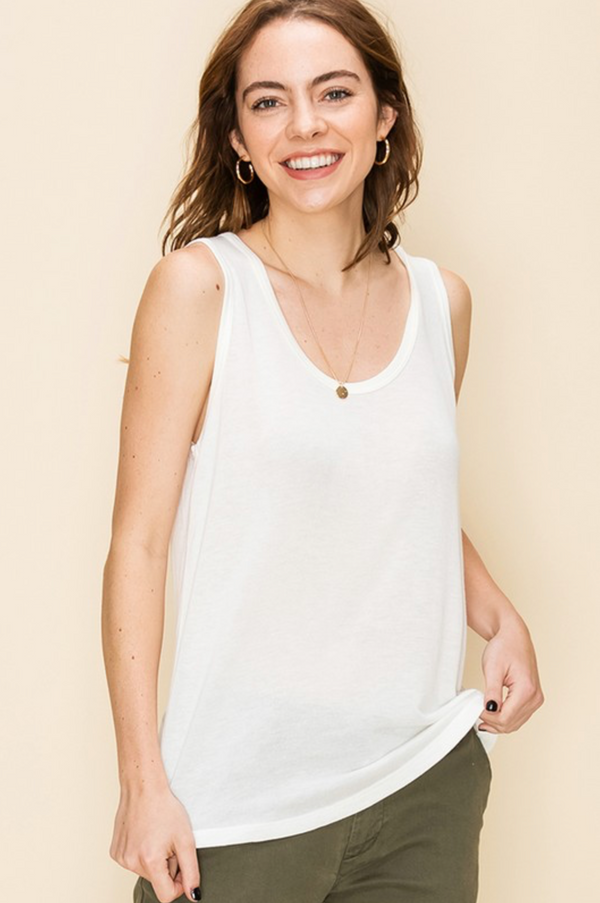 Scoop Neck Tank - Off White