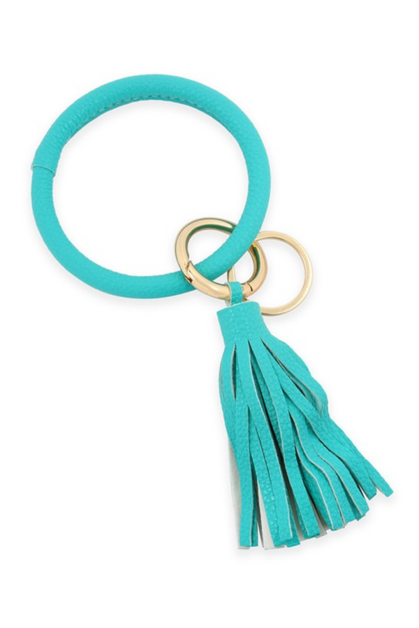 Leather Key Ring - Mint
