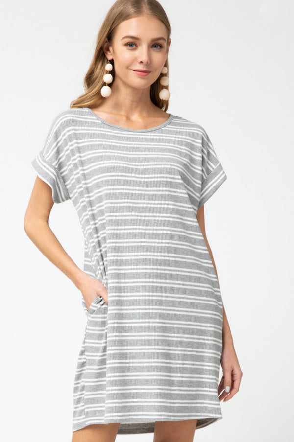 'Be With You' Dress - Heather Striped
